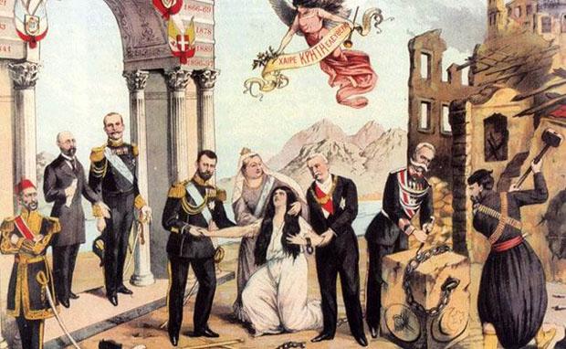 Λιθογραφία τον 1898, με τίτλο: «Η ανάστασις της Κρήτης». Εικονίζονται από αριστερά: Ο σουλτάνος Αβδούλ Χαμίτ, ο Πρόεδρος του Εκτελεστικού Κρήτης Ιωάννης Σφακιανάκης, ο βασιλιάς Γεώργιος Α ', ο τσάρος της Ρωσίας Νικόλαος Β , η βασίλισσα Βικτωρία της Αγγλίας, η Κρήτη, ο Πρόεδρος της Γαλλικής Δημοκρατίας Φέλιξ Φωρ, ο βασιλιάς της Ιταλίας Ουμβέρτος και ο λαός της Κρήτης που συντρίβει τις αλυσίδες της τουρκικής σκλαβιάς. (Εθνικό Ιστορικό Μουσείο)