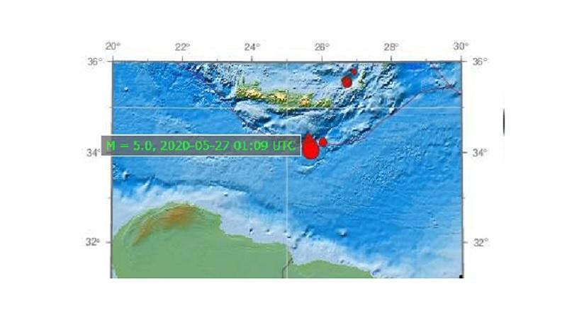 Νέος σεισμός 5 Ρίχτερ στην Κρήτη
