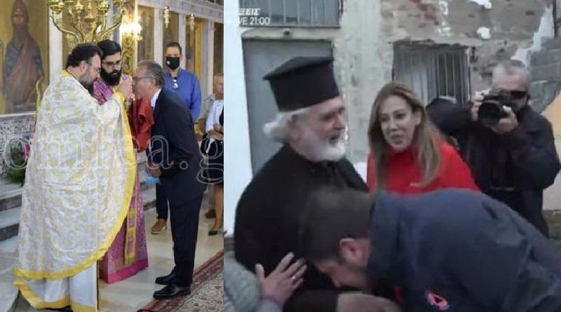 Ούτε… ατομική ευθύνη: Μετά τον Κουμουτσάκο που κοινώνησε ο Χαρδαλιάς φιλά δημόσια το χέρι παπά (βίντεο)